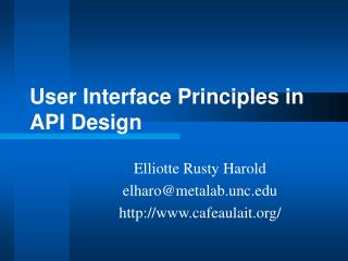User Interface Principles in API Design