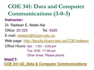COE 341: Data and Computer Communications (3-0-3)