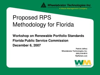 Proposed RPS Methodology for Florida