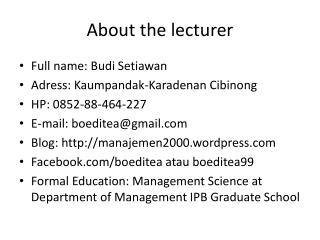 About the lecturer
