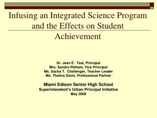 Infusing an Integrated Science Program and the Effects on Student Achievement