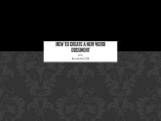 How to Create a New Word Document