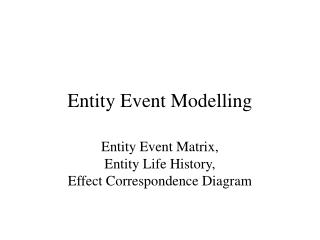 Entity Event Modelling