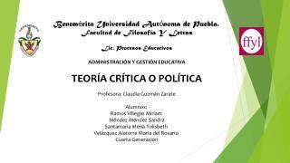Benem é rita Universidad Aut ó noma de Puebla. Facultad de Filosofía Y Letras