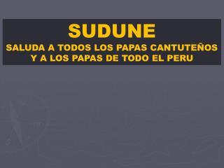 SUDUNE SALUDA A TODOS LOS PAPAS CANTUTEÑOS Y A LOS PAPAS DE TODO EL PERU
