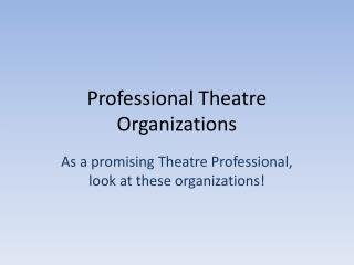 Professional Theatre Organizations