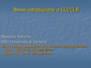 Breve introduzione a CLI/CLR
