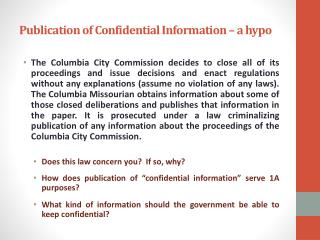 Publication of Confidential Information – a hypo