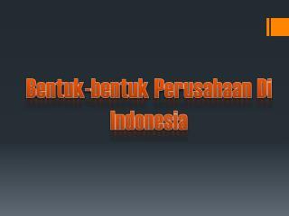 Bentuk - bentuk  Perusahaan Di Indonesia