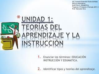 UNIDAD 1: TEORÍAS DEL APRENDIZAJE Y LA INSTRUCCIÓN
