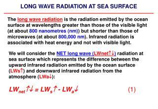 LONG WAVE RADIATION AT SEA SURFACE