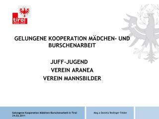 GELUNGENE KOOPERATION MÄDCHEN- UND BURSCHENARBEIT JUFF-JUGEND VEREIN ARANEA VEREIN MANNSBILDER