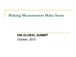 Making Measurement Make Sense