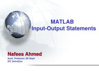 MATLAB   Input-Output Statements