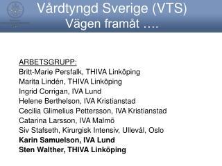 Vårdtyngd Sverige (VTS) Vägen framåt ….