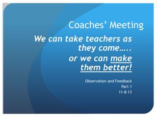 Coaches' Meeting