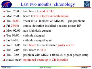 Last two months� chronology