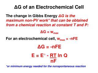 Δ G of an Electrochemical Cell