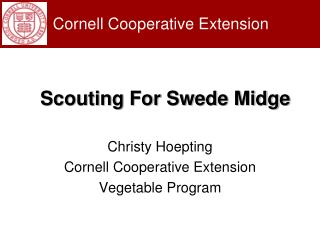 Christy Hoepting Cornell Cooperative Extension  Vegetable Program