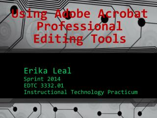 Using Adobe Acrobat Professional Editing Tools