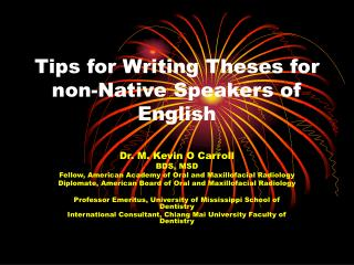 Tips for Writing Theses for non-Native Speakers of English