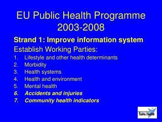 EU Public Health Programme 2003-2008