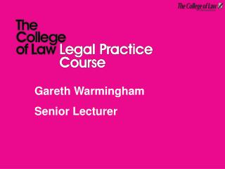 Gareth Warmingham Senior Lecturer