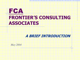 FRONTIER'S CONSULTING ASSOCIATES