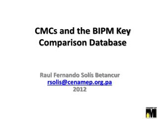 CMCs and the BIPM Key Comparison Database
