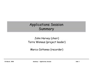 Applications Session Summary