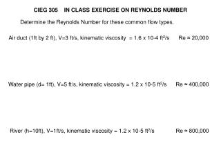 CIEG 305    IN CLASS EXERCISE ON REYNOLDS NUMBER