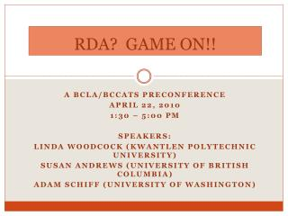 RDA?  GAME ON!!