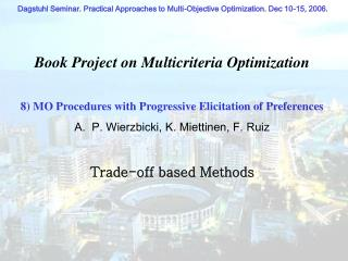 Book Project on Multicriteria Optimization
