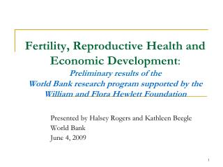 Presented by Halsey Rogers and Kathleen  Beegle World Bank  June 4, 2009