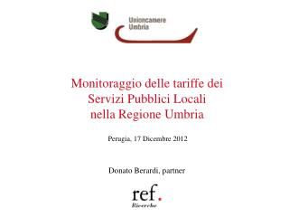 Monitoraggio delle tariffe dei  Servizi Pubblici Locali  nella Regione Umbria