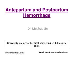 Antepartum  and Postpartum Hemorrhage