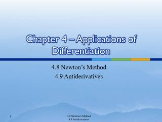 Chapter 4 – Applications of Differentiation