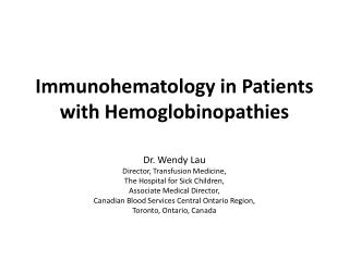 Immunohematology in Patients with Hemoglobinopathies