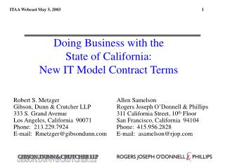 Doing Business with the  State of California:   New IT Model Contract Terms
