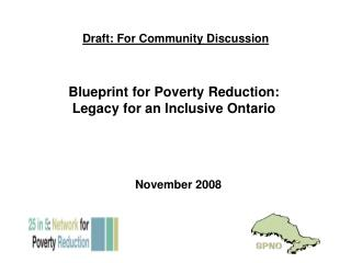 Blueprint for Poverty Reduction: Legacy for an Inclusive Ontario
