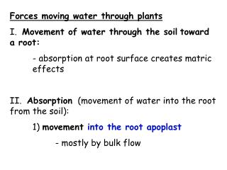 Forces moving water through plants I.   Movement of water through the soil toward a root:
