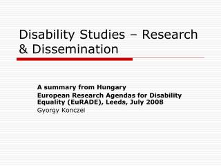 Disability Studies – Research & Dissemination