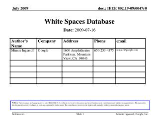 White Spaces Database