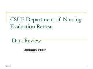 CSUF Department of Nursing Evaluation Retreat  Data Review