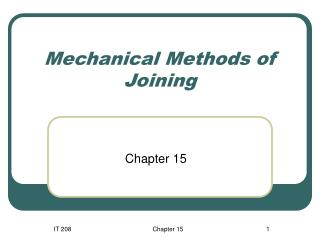 Mechanical Methods of Joining