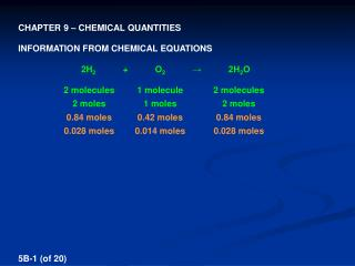 CHAPTER 9 � CHEMICAL QUANTITIES