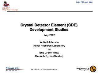 Crystal Detector Element (CDE) Development Studies
