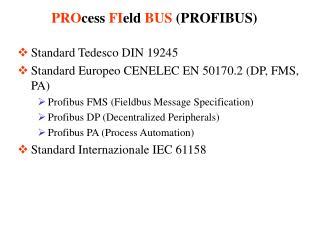 Standard Tedesco DIN 19245 Standard Europeo CENELEC EN 50170.2 (DP, FMS, PA)