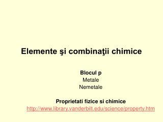 Elemente şi combinaţii chimice