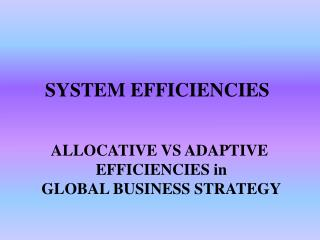 SYSTEM EFFICIENCIES